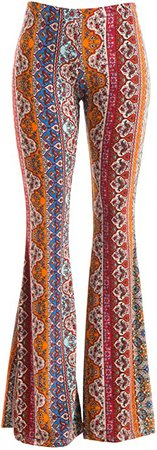 FASHIONOMICS Womens Boho Comfy Stretchy Bell Bottom Flare Pants at Amazon Women's Clothing store