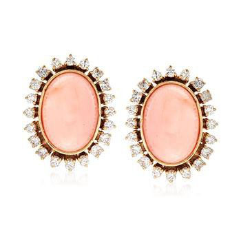 Ross-Simons - C. 1960 Vintage Pink Coral and 2.00 ct. t.w. Diamond Earrings in 18kt Yellow Gold - #898915