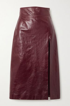 Burgundy Textured glossed-leather pencil skirt   Gucci   NET-A-PORTER