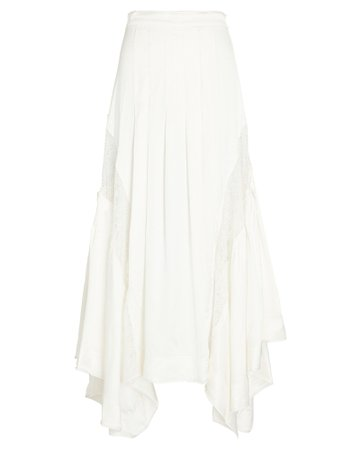 Veil Lace-Trimmed Midi Skirt