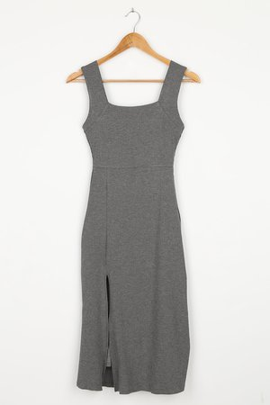 Grey Midi Dress - Ribbed Sleeveless Dress - Square Neck Dress - Lulus