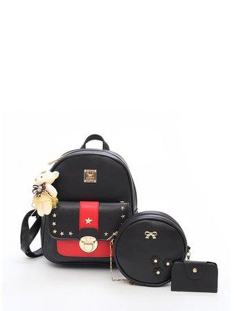 Star Studded Decor Backpack With Bear Charm 3pcs