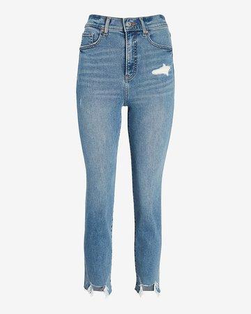 Super High Waisted Ripped Raw Step Hem Mom Jeans | Express