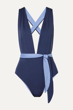 Navy The Domino reversible swimsuit | Skin | NET-A-PORTER