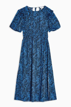 Blue Puff Sleeve Midi Dress | Topshop