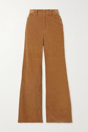 Brown The Flared Jean appliquéd cotton-corduroy pants   THE Marc Jacobs   NET-A-PORTER
