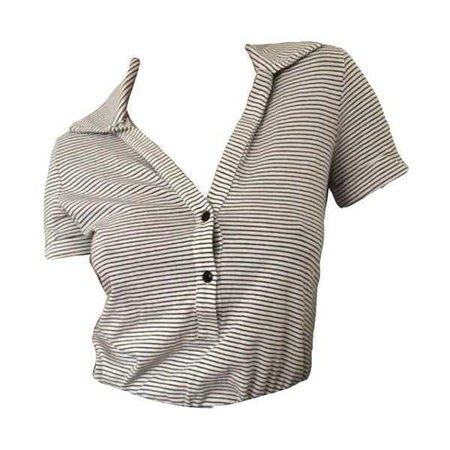 Stripe Cropped Polo Shirt