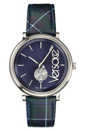 Versace V Circle Clans Edition Leather Strap Watch, 42mm | Nordstrom