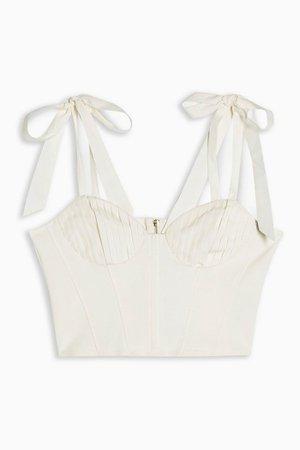 Cream Tie Shoulder Crop Top | Topshop