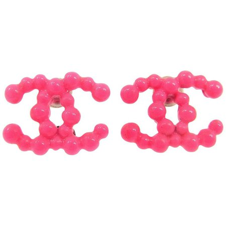 Chanel Hot Neon Pink Ridge Plastic Charm Stud Evening Earrings For Sale at 1stdibs
