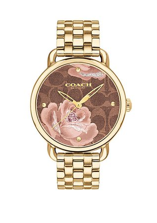 COACH Gold-Tone Stainless Steel Delancey Watch With Floral Dial