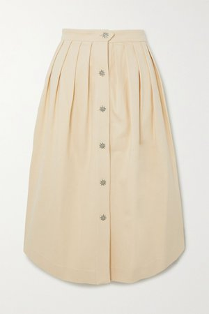 Cream Pleated cotton-blend midi skirt | Giuliva Heritage | NET-A-PORTER
