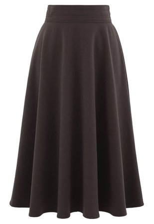High Waist A-Line Flare Midi Skirt in Brown - Retro, Indie and Unique Fashion