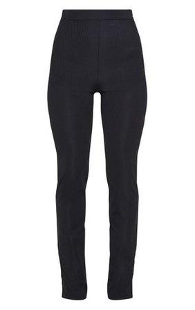 Black Ribbed Skinny Split Hem Trouser | PrettyLittleThing