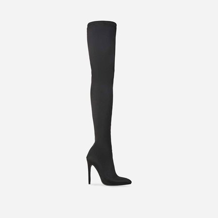 Alabama Pointed Toe Over The Knee Thigh High Long Sock Boot In Black Lycra | EGO