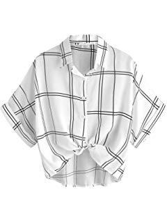 MAKEMECHIC Women's Summer Half Sleeve Dip Hem Plain Pocket T-Shirt Blouse Crop Top #Black M at Amazon Women's Clothing store: