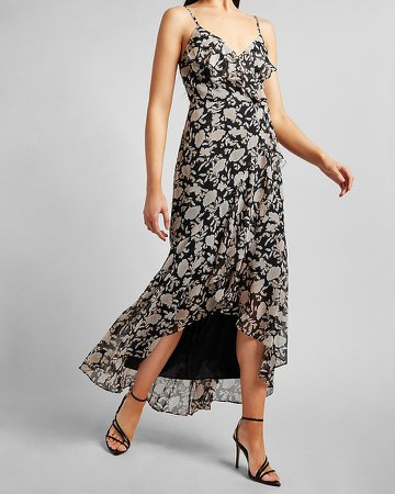 Floral Ruffle Wrap Front Maxi Dress