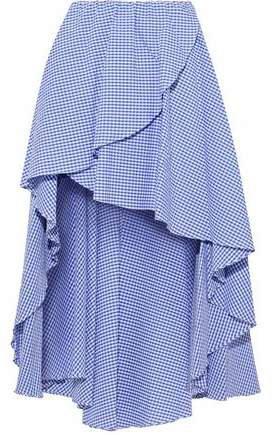 Adelle Asymmetric Gingham Cotton-seersucker Mini Skirt