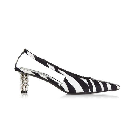 JESSICABUURMAN – PODON Diamante Heel Zebra Printed Mohair Pumps - 6cm