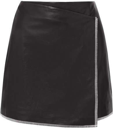 STAND - Aviva Leather Wrap Mini Skirt - Black