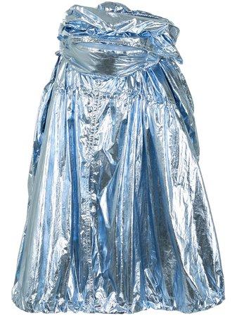 Blue & metallic Juun.J gathered metallic skirt - Farfetch