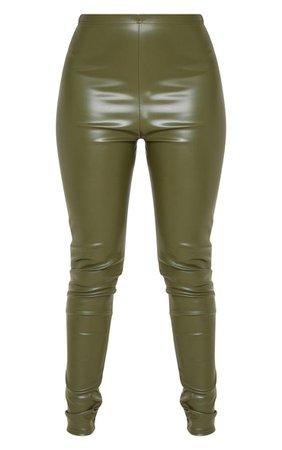 Khaki Faux Leather High Waisted Leggings | PrettyLittleThing USA
