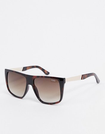 Quay Australia Icognito oversized flat brow sunglasses in brown tort | ASOS
