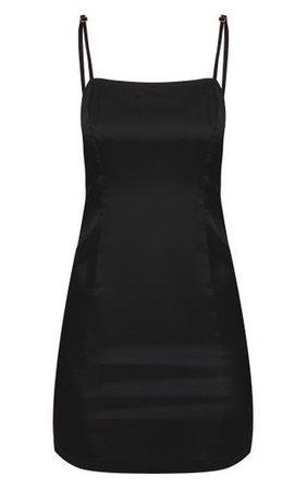 Petite Black Satin Straight Neck Bodycon Dress | PrettyLittleThing USA