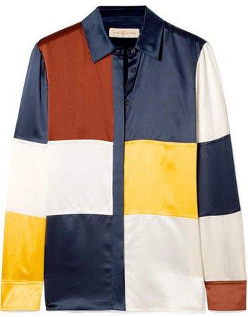 Reese Color-block Silk-satin Shirt - Navy