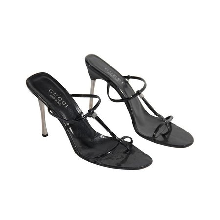 Gucci Black Leather Heeled Sandals Shoes with Stiletto Heels For Sale at 1stdibs