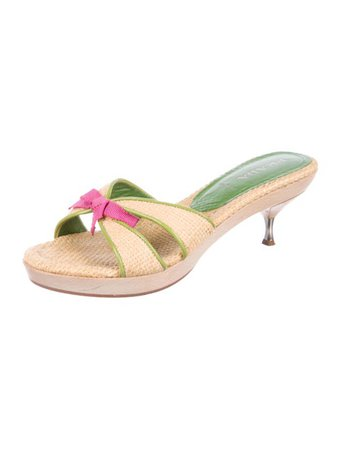 Prada Straw Bow Sandals - Shoes - PRA265458 | The RealReal