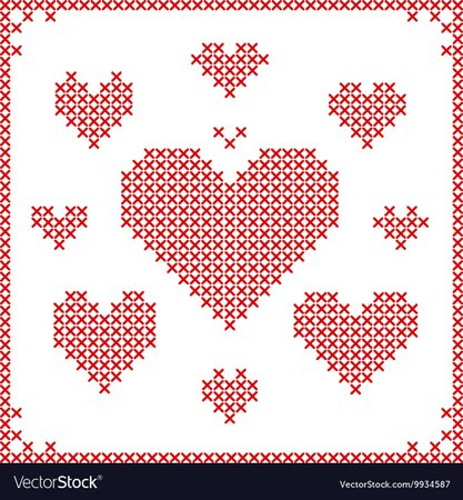 Set cross stitch embroidery hearts Royalty Free Vector Image