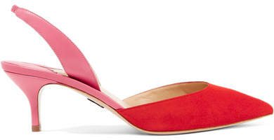 Rhea Two-tone Suede And Leather Slingback Pumps - Red