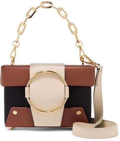 Yuzefi - Asher Small Color-block Textured-leather Shoulder Bag - Black