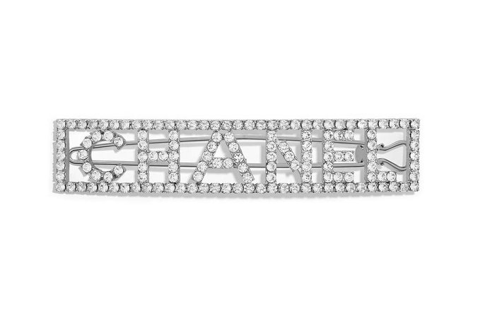 Chanel Silver Crystal Diamond Hair Clip Barrette