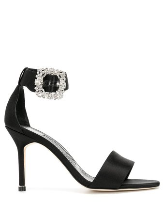 Manolo Blahnik crystal buckle satin sandals - FARFETCH