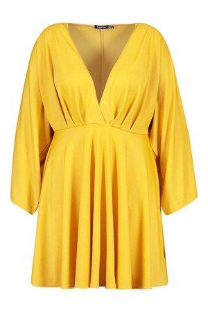 Plus Plunge Kimono Sleeve Skater Dress | boohoo
