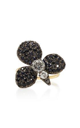 Montse Esteve Oxidized Silver 18K Gold And Diamond Ring