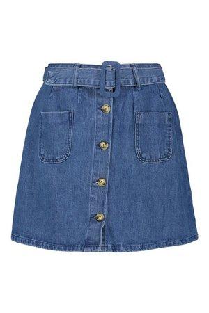 Belted Denim Skater Skirt | boohoo
