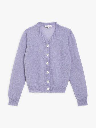 AGNES B lavender mohair nona cardigan