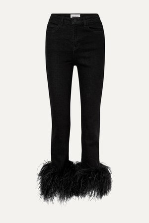 16ARLINGTON | Feather-trimmed high-rise straight-leg jeans | NET-A-PORTER.COM