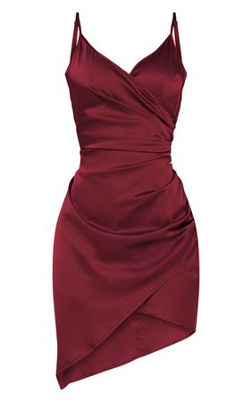 PrettyLittleThing Shape Burgundy Satin Wrap Dress