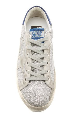 Superstar Glittered Distressed Leather And Suede Sneakers By Golden Goose | Moda Operandi