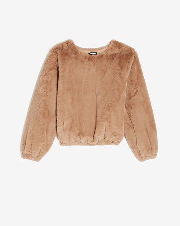 Cozy Faux Fur Crew Neck Sweatshirt | Express