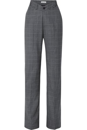Balenciaga | Checked wool and silk-blend wide-leg pants | NET-A-PORTER.COM