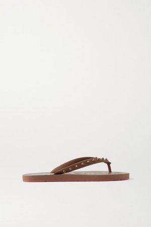 Loubi Flip Spiked Rubber Flip Flops - Beige
