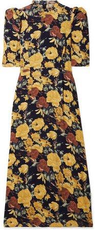 Ella Ruffle-trimmed Floral-print Crepe Midi Dress - Yellow