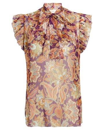 Zimmermann Ladybeetle Ruffled Floral Blouse | INTERMIX®