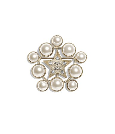 Brooch, metal, glass pearls & strass, gold, pearly white & crystal - CHANEL