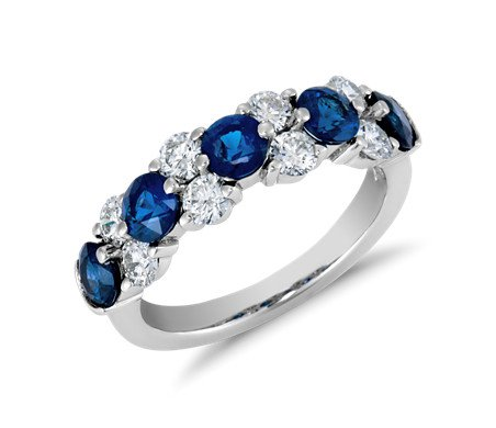Sapphire and Diamond Garland Ring in Platinum (7/8 ct. tw.) | Blue Nile
